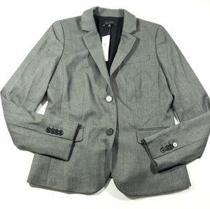 Ann Taylor Womens gray button blazer jacket size 2